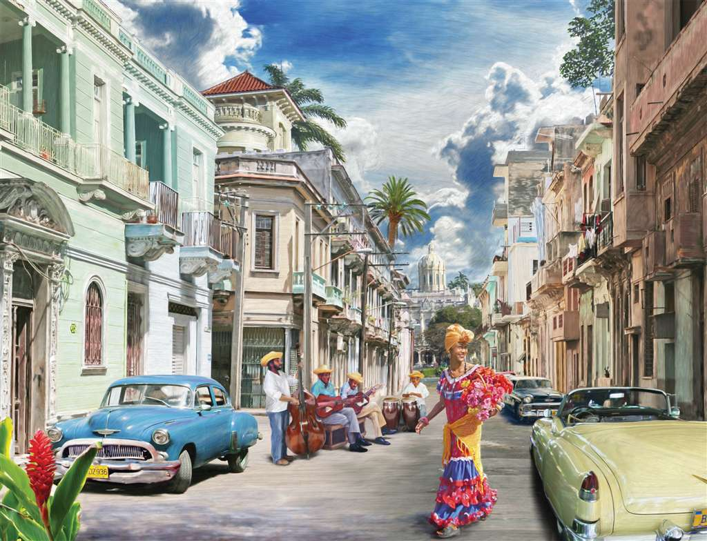 cuban impressions painting by walter pepperel ravensburger 2000 piece jigsaw puzzle cuban-impressions