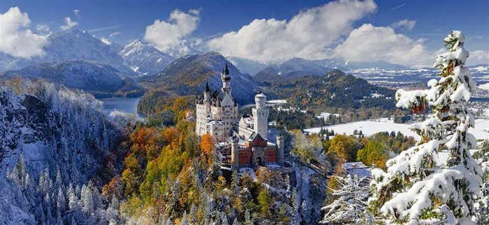 Neuschwanstien Castle Panorama 2000 Piece Jigsaw Puzzle by Ravensburger Games neuschwanstein-castle-panorama