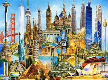 World Famous Buildings Collage 3000 Piece jigsaw puzzle ravensburger games germany puzzel europe worldfamousbuildings