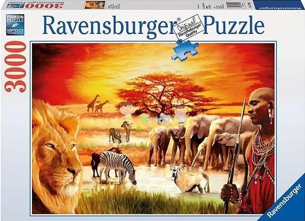 ravensburger jigsaw puzzle, 3000 pieces, painting of african savannah masai by carden design ravensb savannah-masai