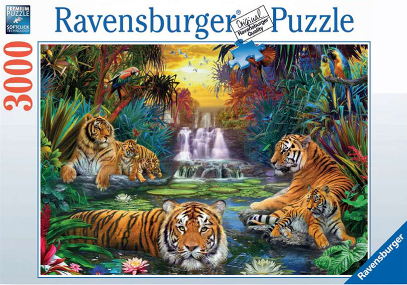 Tigers at the Waterhole 3000 Pieces Jigsaw Puzzels by Ravensburger Games number 170579 tigers-water-hole-ravensburger