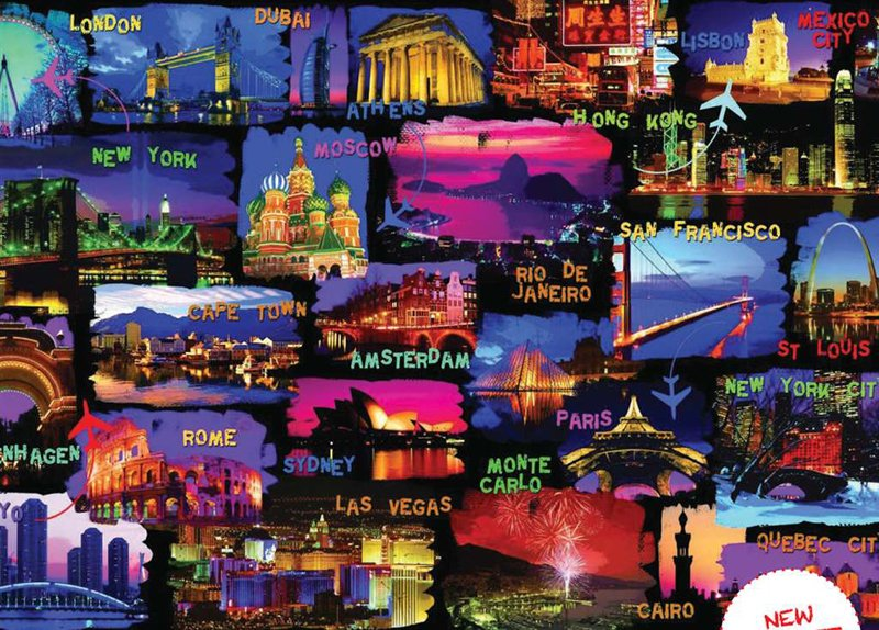 major cities around the world collage 3000 piece jigsaw puzzle made by ravensburger in germany around-the-world