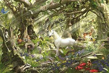 Ravensburger 5000 Piece Jigsaw Puzzle titled Fantasy World # 174072 with white unicorn DavidPenfound fantasyworld