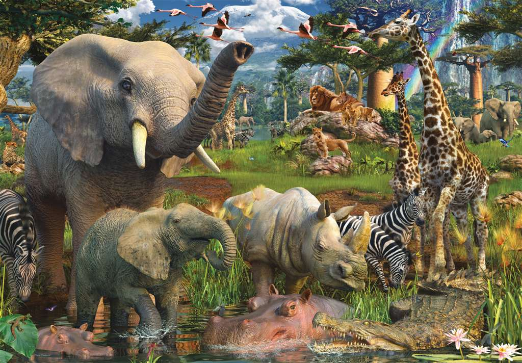The Largest Jigsaw Puzzle in the World 18000 Pieces made by Ravensburger item # 178231 At the Waterh at-the-waterhole