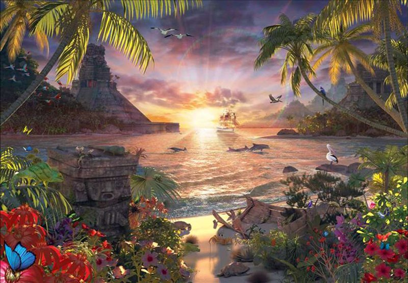 Paradise Sunset 18000 Pieces made by Ravensburger item # 178247 David Penfound Artistry paradise-sunset