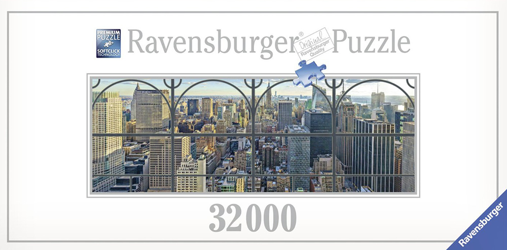 new york city panoramic view through a window photographer Lois Lamhubber ravensburger jigsaw puzzle new-york-city-window