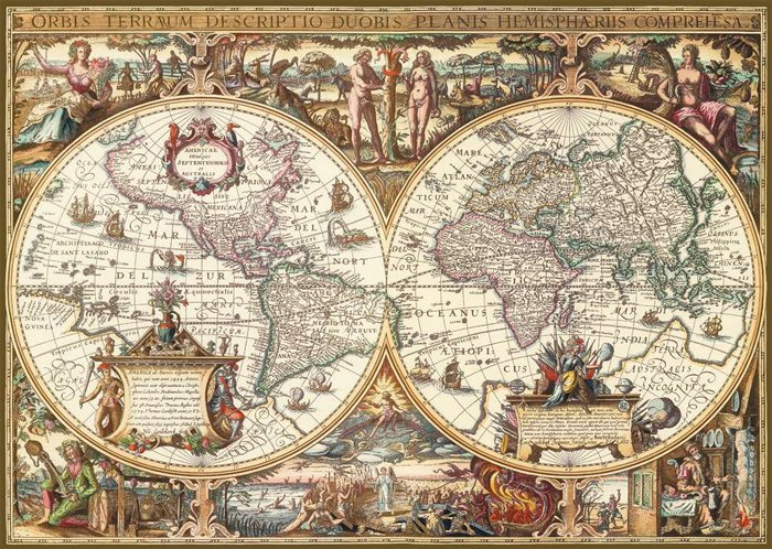 Antique World Map Historical 1000 Pieces Jigsaw Puzzle by Ravensburger Puzles Germany # 190041 antique-world-map