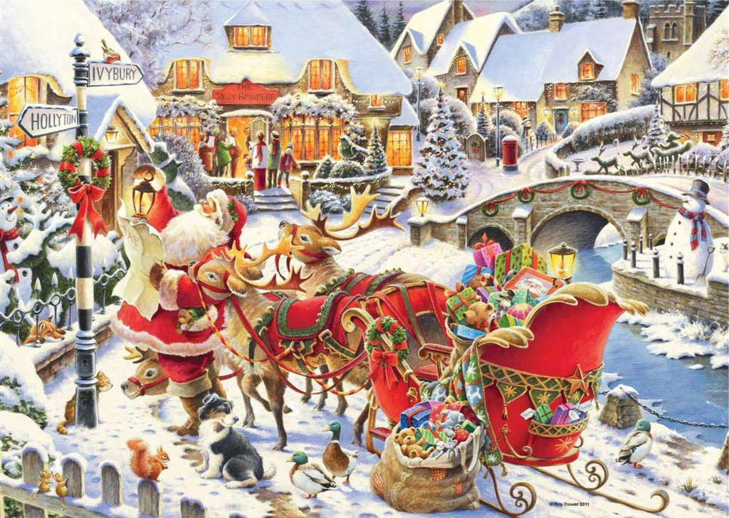 Roy Trower Artist Which Way Santa? visit christmas Ravenbsurger JigsawPuzzles thousand pieces jigsaw which-way-santa