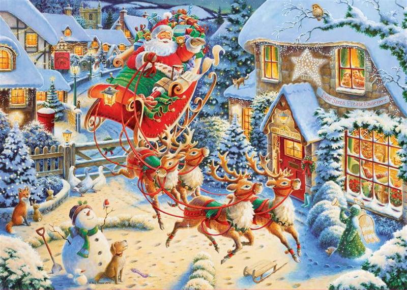 Roy Trower Artist Santas sleigh ride visit christmas Ravenbsurger JigsawPuzzles thousand pieces jigs santas-sleigh-ride