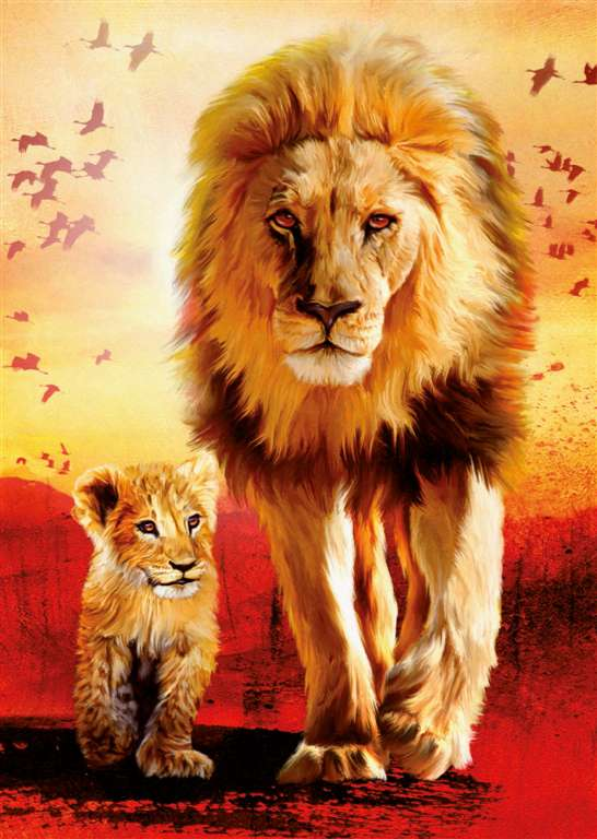 Ravesburger JigsawPuzzle 1000 pieces baby lion cubs first steps with dad 190515 first-steps