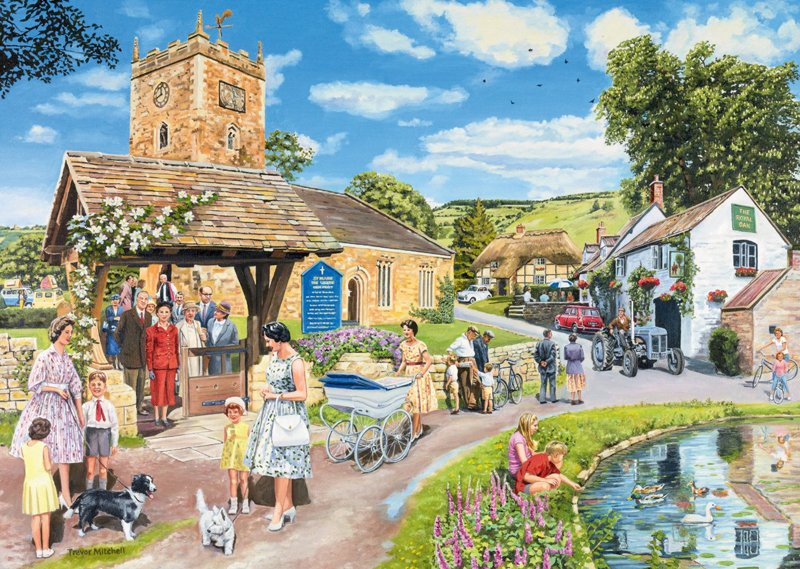 trevor mitchell the sunday service escape to the country painting as 1000 Piece Puzzle by Ravensburg escape-to-the-country