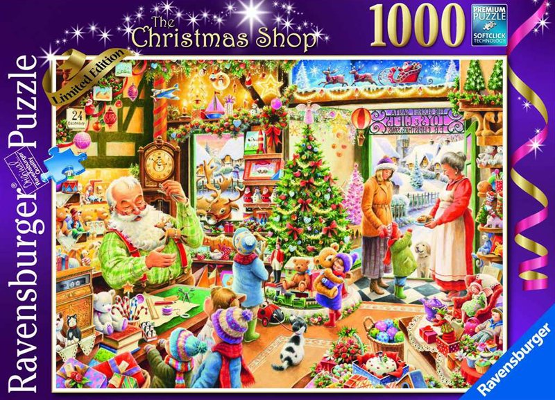 Roy Trower Artist The Christmas Shop 15th Limited Edition Xmas Puzzle by Ravenbsurger JigsawPuzzles  santas-christmas-shop