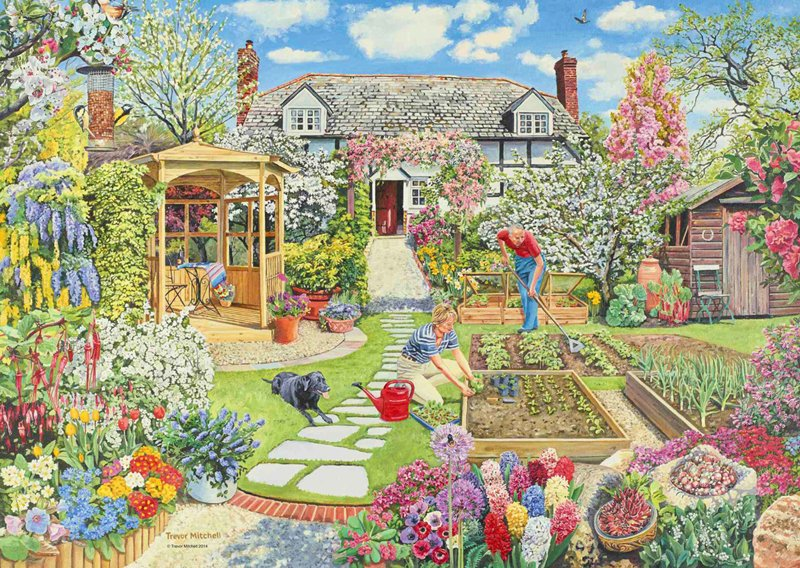 Trevor Mitchell's Gardening World in Spring 1000 Pieces Jigsaw Puzzle by Ravensburger Puzzles gardening-world-spring