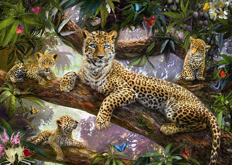 leopard family 1000 piece jigsaw puzzle by ravensburger germany # 191482 leopard-family