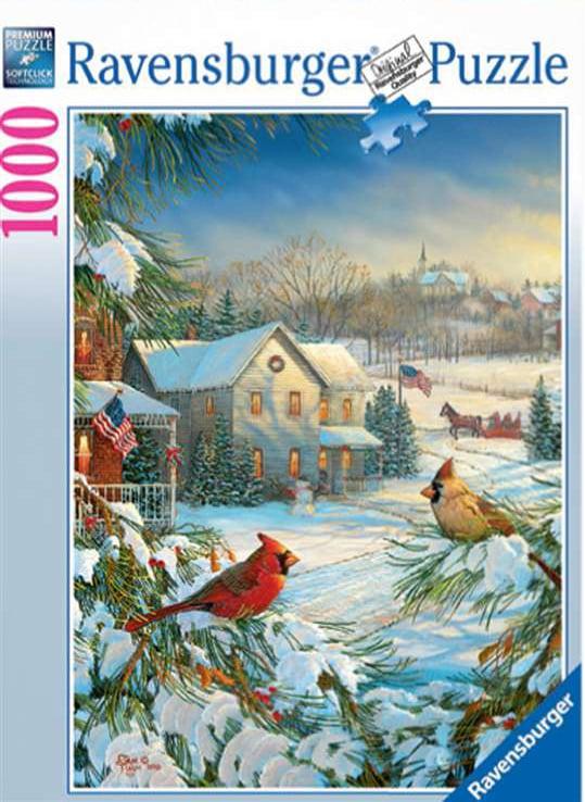 winter cardinals puzzle, bird jigsaws, 2d ravensburger collection, 1000 pieces winter-cardinals