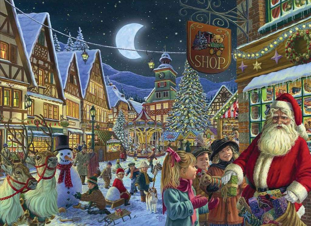 George Schriemer Artist Santas Arrival visit christmas Ravenbsurger JigsawPuzzles thousand pieces ji santas-arrival