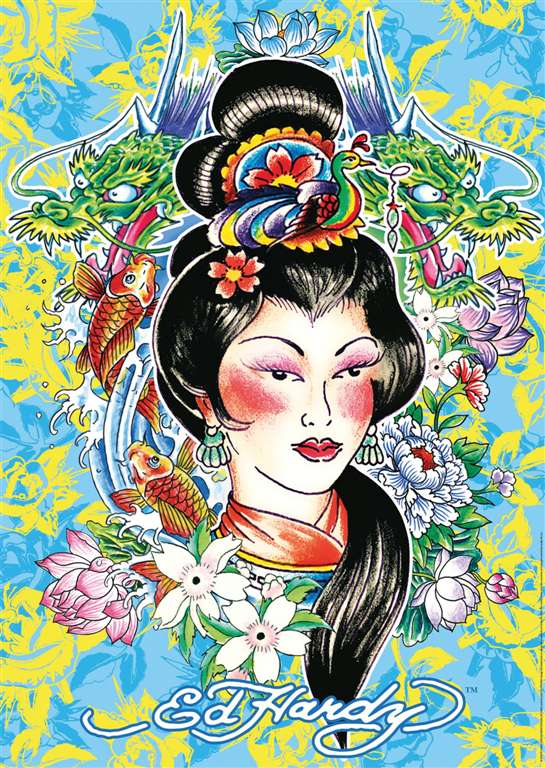 ed hardy geisha tattoo art as 1000Piece Puzzle by RavensburgerJigsawPuzzles ed-hardy-geisha