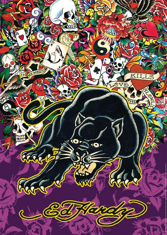ed hardy black panther tattoo art as 1000Piece Puzzle by RavensburgerJigsawPuzzles ed-hardy-black-panther