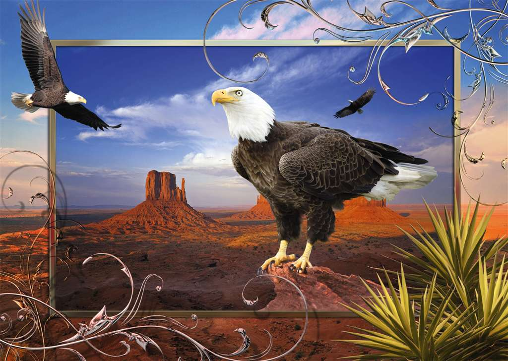 majestic eagle beautiful bird of the USA ravensburger 1000 piece jigsaw puzzel # 191895 majestic-eagle