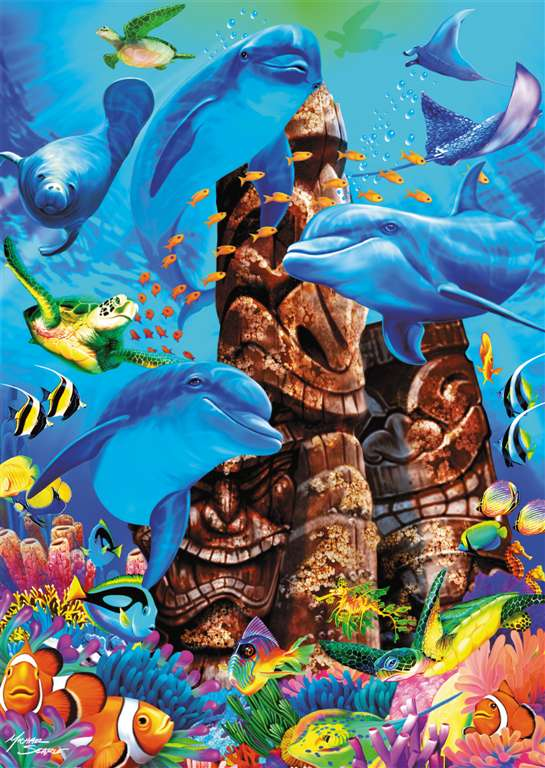 tiki gods under the ocean with a group of dolphins and other fish ravensburger 1000 piece jigsaw puz tiki-gods