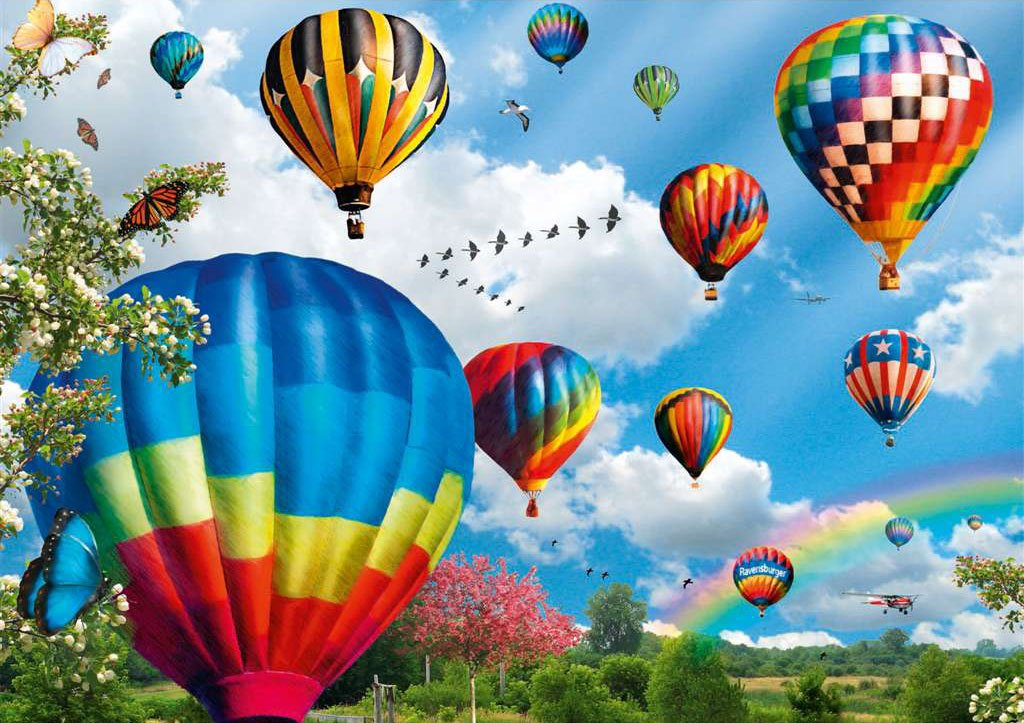 up up and away hot air balloons Ravenburger Jigsaw Puzzle 1000 Pieces by Ravensberger Games & Puzzle up-up-away