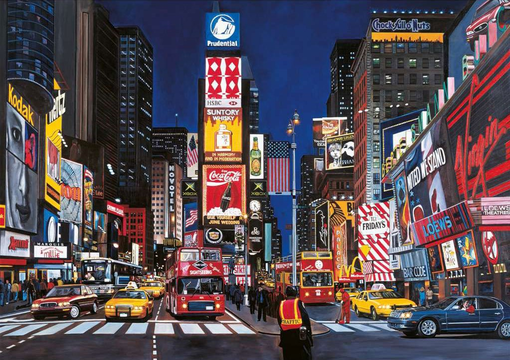 times square new york city artist ken keeley ravensburger jigsaw puzzle, 1000 pieces # 192083 times-square-nyc