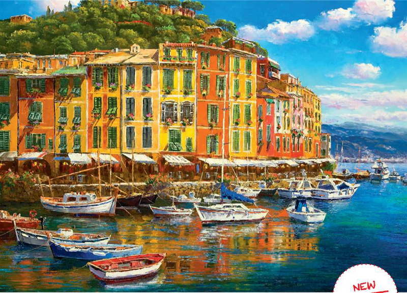 Sunny Port Harbor 1000 Piece Jigsaw Puzzle made by Ravensburger Puzzles in Germany sunny-harbor
