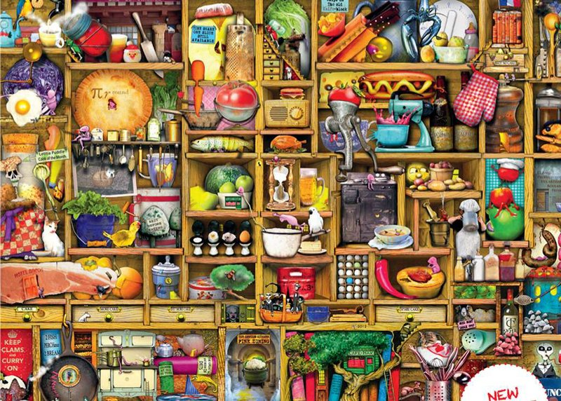 Jigsaw Puzzle 1000 pieces Kitchen Cupboard artist Colin Thompson  manufactured by Ravensburger kitchen-cupboard