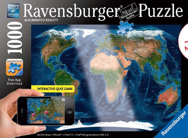 Satellite World Map Augmented Reality Ravensburger Jigsaw Puzzle with Interactive Quiz Game satellite-world-map-puzzle