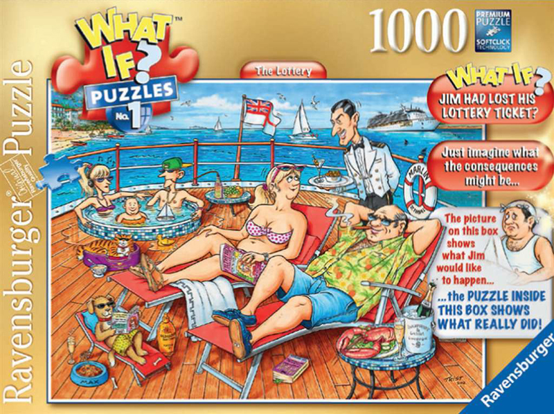What If? Puzzle # 1 titled The Lottery, Made by Ravensburger Jigsaw Puzzles # 193219 the-lottery-what-if-puzzle