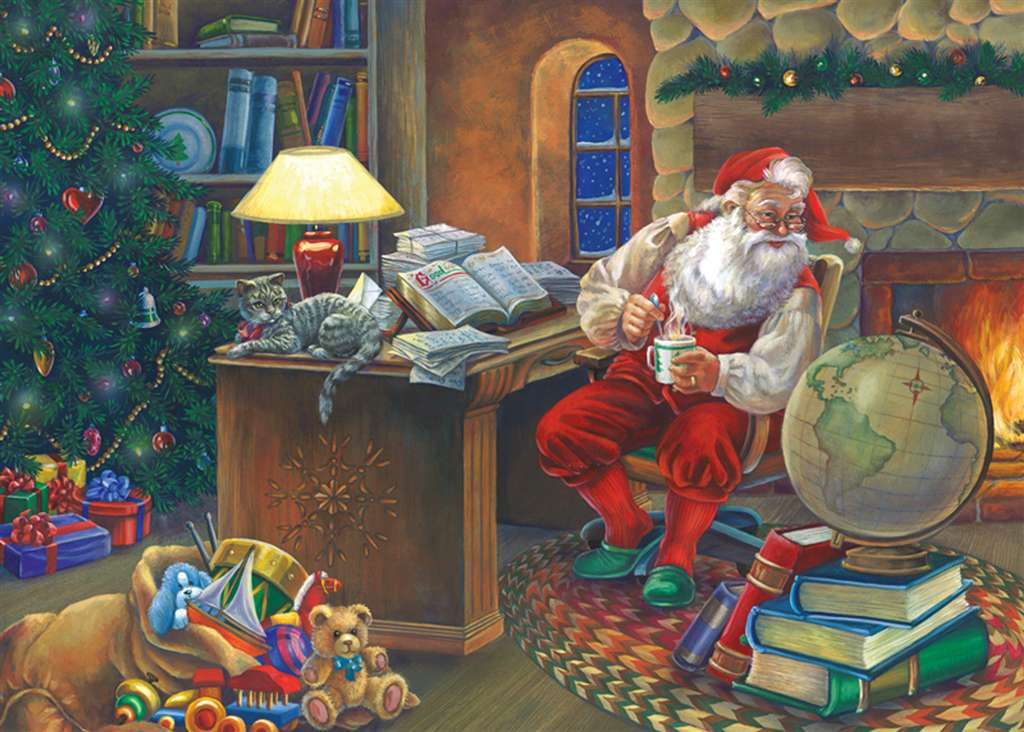 Elaine Maier Artist Santa Mapping his christmas course Ravenbsurger JigsawPuzzles thousand pieces ji santa-mapping-course