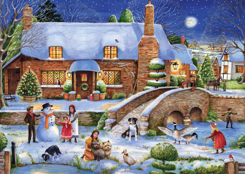 Debbie Cook Artist idyllic christmas frosty the snowman is with kids christmas Ravenbsurger JigsawPu idyllic-christmas