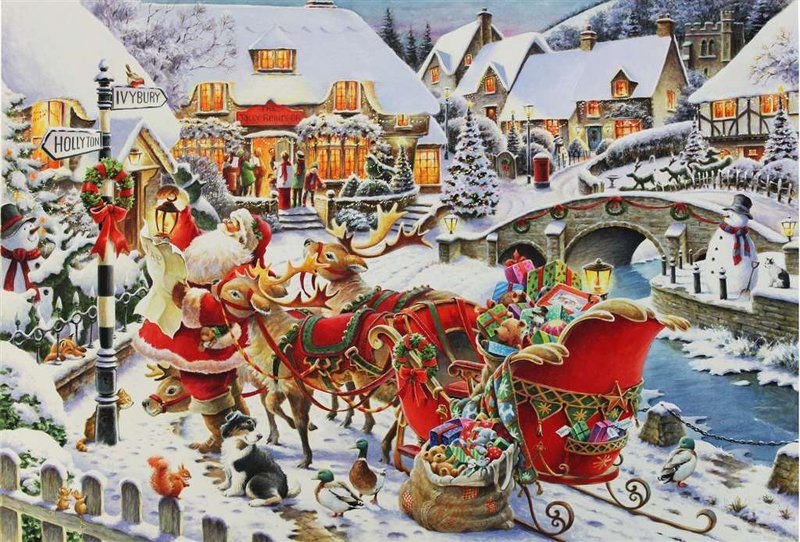 Roy Trower Artist Santa Needs Directions christmas Ravenbsurger JigsawPuzzles thousand pieces jigsaw santa-needs-directions
