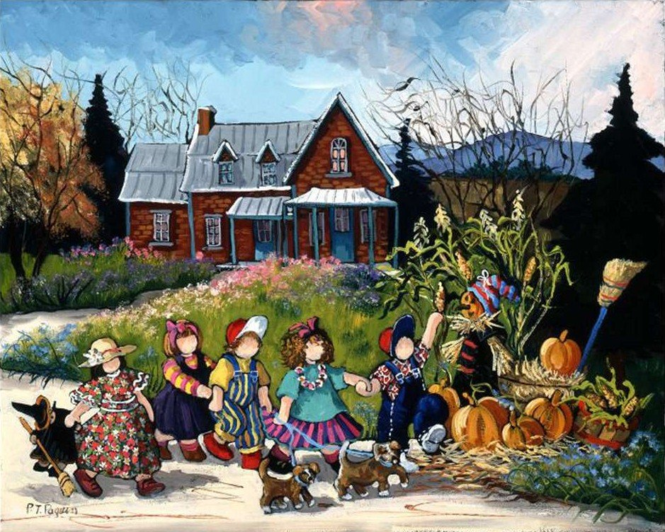 Pauline Paquin quebec artiste colorful paintings of chilhood joy brought to life in a special puzzle an-afternoon-stroll