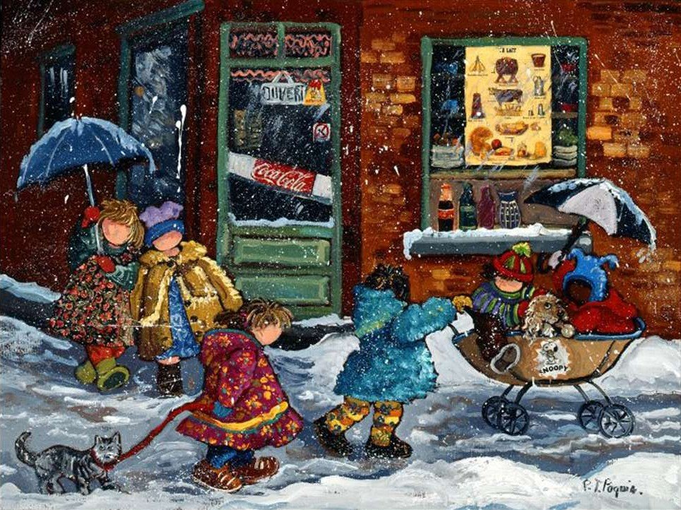 Pauline Paquin quebec artist colorful paintings of chilhood joy brought to life in a special puzzle  first-snow-paquin
