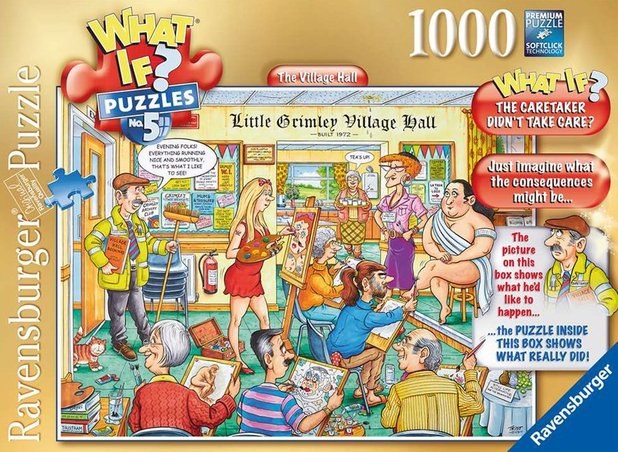 What If? Puzzle titled The Village Hall, Made by Ravensburger Jigsaw Puzzles # 193639 village-hall-what-if-puzzle