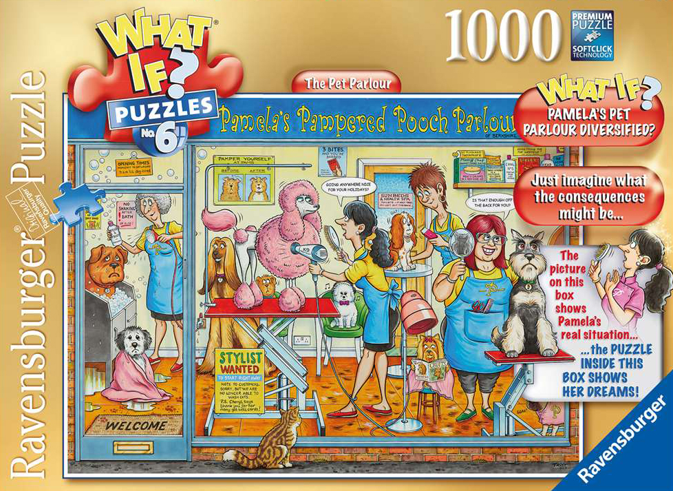 What If? Puzzle titled The Pet Parlour, Made by Ravensburger Jigsaw Puzzles # 193646 pet-parlour-what-if-puzzle