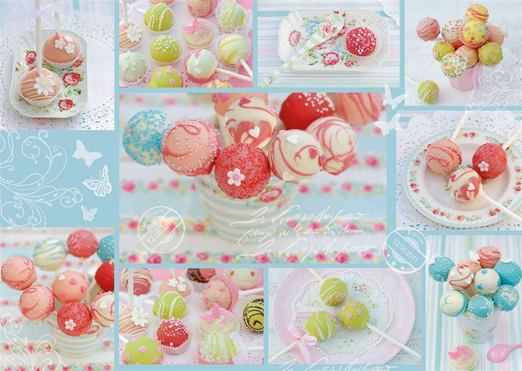 Jigsaw Puzzle 1000 pieces Sweet Cake Pops artist Andrea Tilk manufactured by Ravensburger sweet-cake-pops