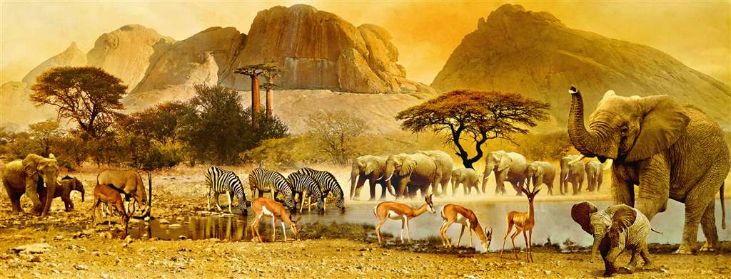 african journey triptychon in african sunset jogsaw puzzles jogsawpuzzles jigsawpuzzle giraffe puzz african-journey