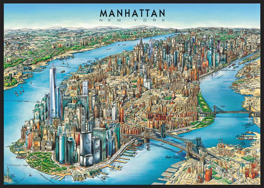 manhattan map new york city photographs by unique media inc. ravensburger jigsaw puzzle, 1000 pieces manhattan-map