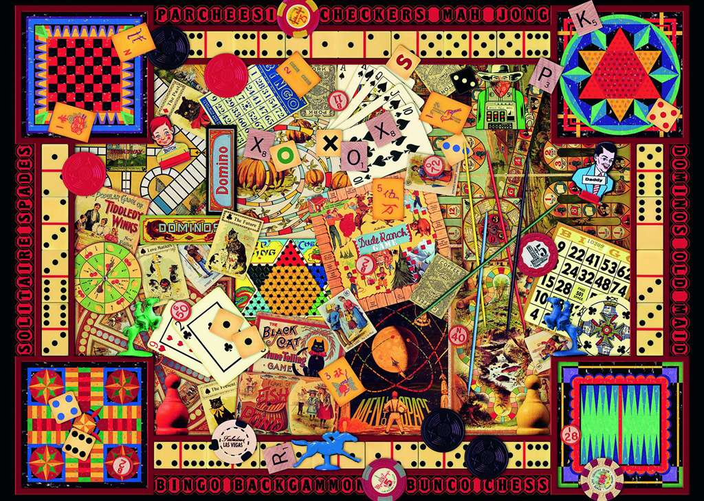 Kate Ward Thacker collage of vintage toys and games is 1000 piece jigsawpuzzle ravnsburger vintage-games