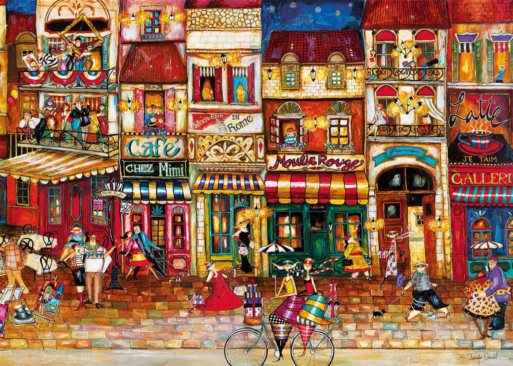 Streets of France painted by Jennifer Grant 1000 piece jigsaw puzzle manufactured by Ravensburger pu streets-france
