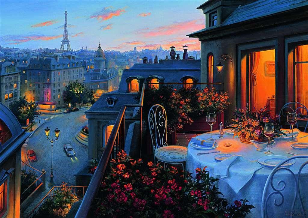 Paris Balcony eiffel tower jigsaw puzzle, ravensburger, 1000 pieces, corbis photo 194100 paris-balcony