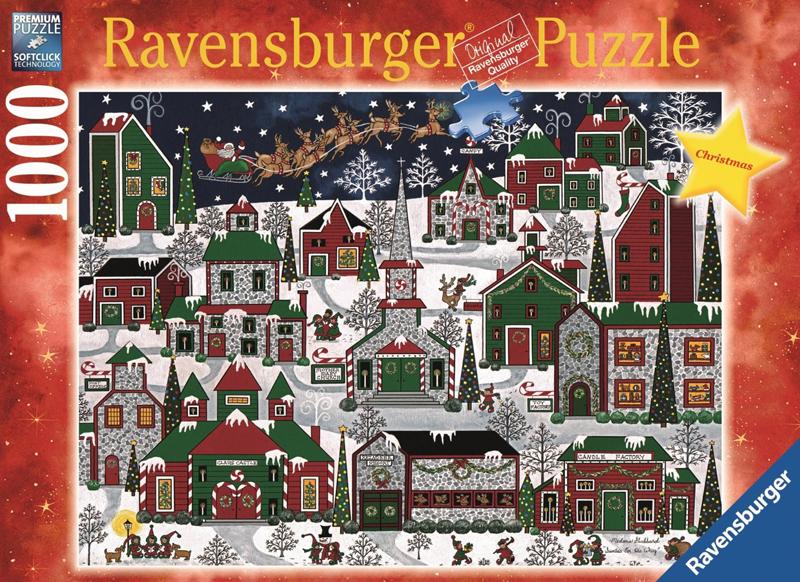 Medana Gabbard Artist americana christmas santa is flying over a us village xmas Ravenbsurger Jigsaw americana-christmas