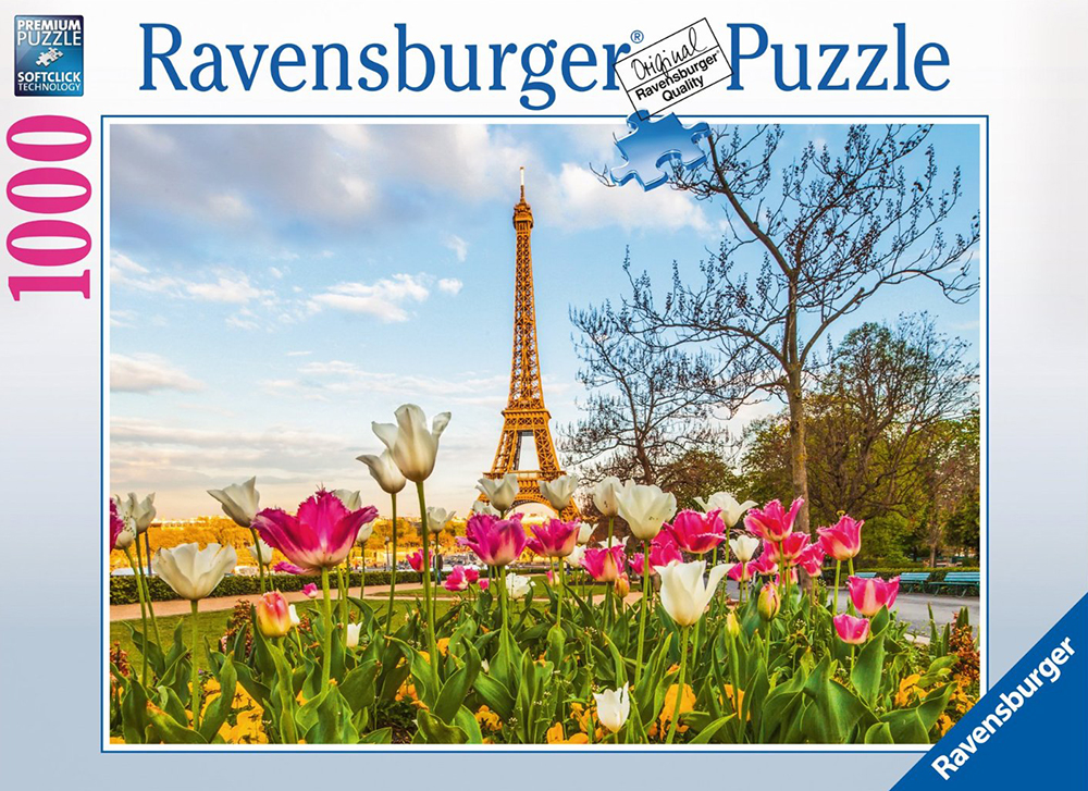 paris eiffel tower tulips jigsaw puzzle, ravensburger, 1000 pieces, david stern eiffel-tower-tulips