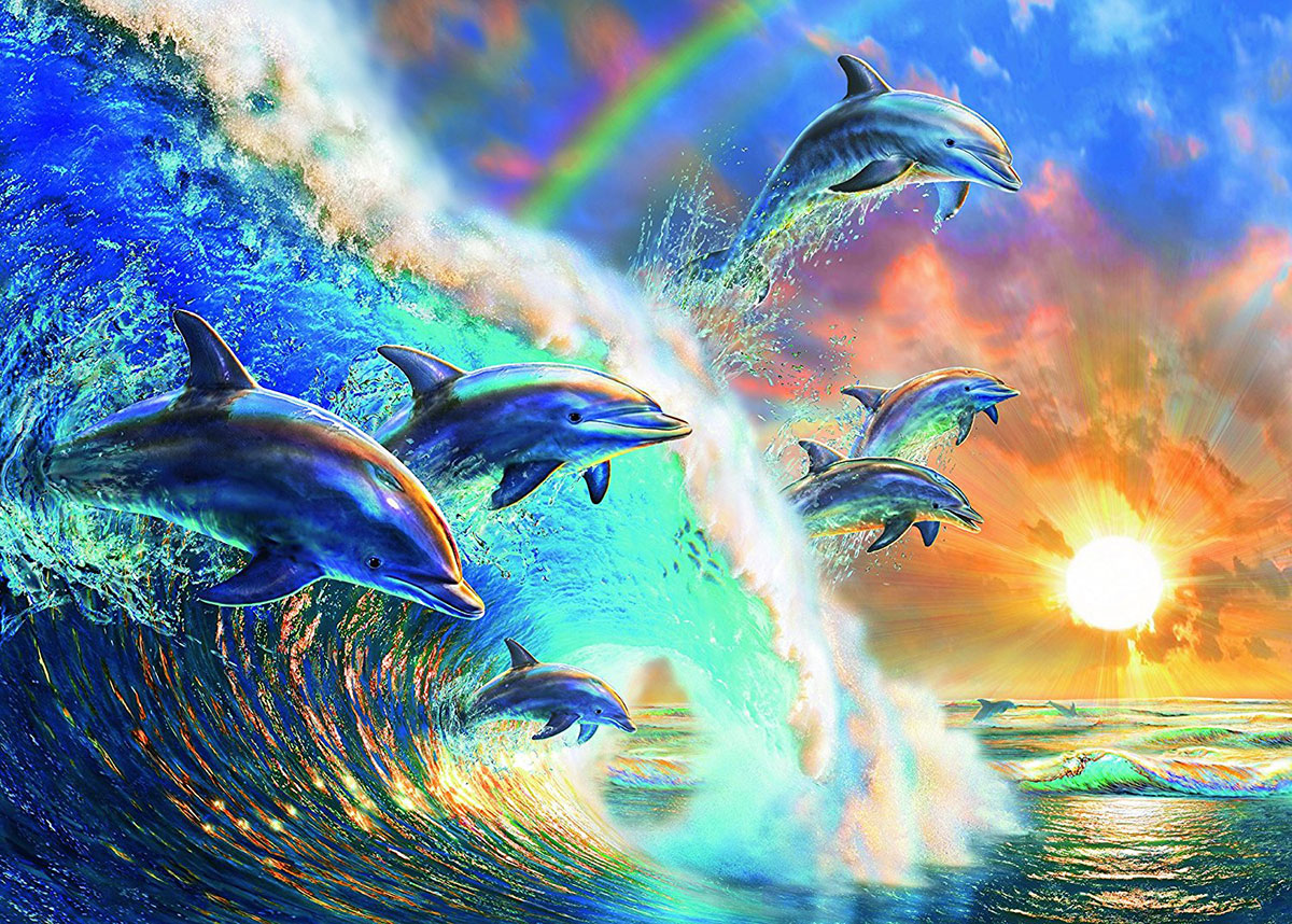 Family of Dolphins Artistic Illustration 1000 Piece Jigsaw Puzzle by Ravensburger Puzzles Germany dancing-dolphins