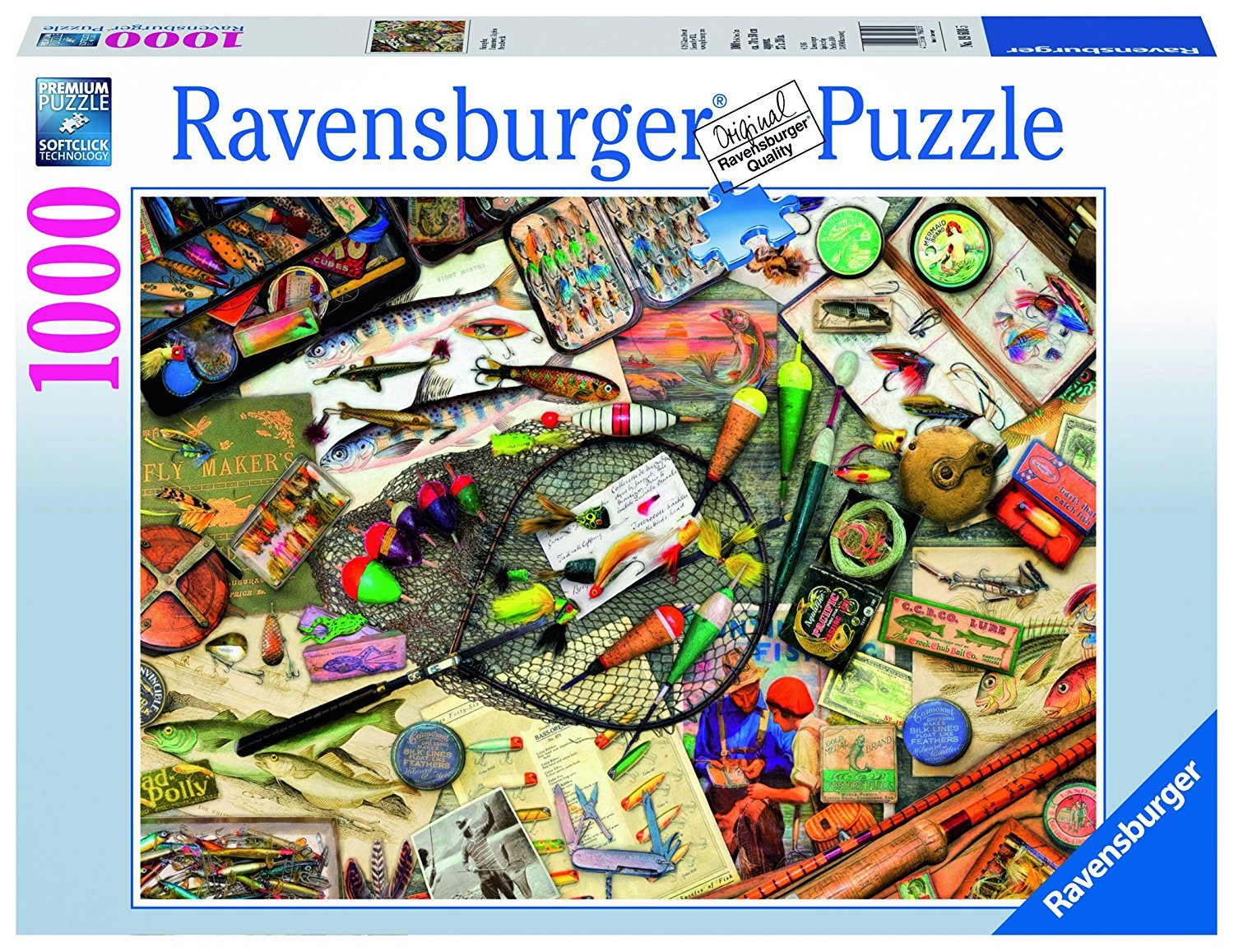 1000 pieces jigsaw puzzle by ravensburger, fishing fun fishing-fun