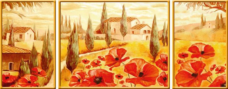 Poppies In Tuscany Triptychon jigsaw puzzle ravensburger puzzle 199945 poppies-in-tuscany