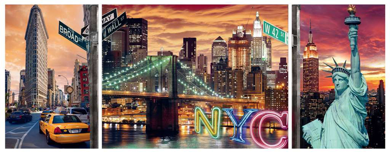 sparkling new york city triptychon carden design ravensburger jigsaw puzzle, 1000 pieces # 199952 sparking-nyc-triptychon