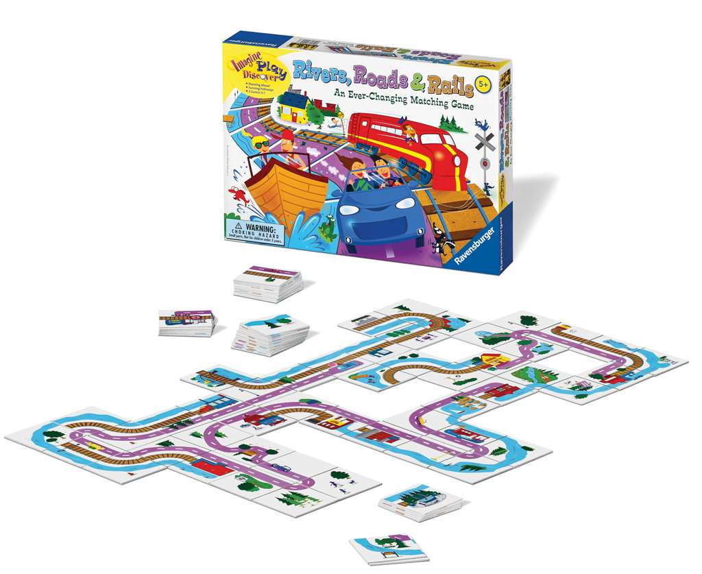 Rivers, Roads & Rails board game be the first to build your network rivers-roads-rails